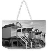 Beach Huts Sunset In Black And White Weekender Tote Bag