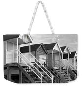 Beach Huts Sunset In Black And White Square Weekender Tote Bag