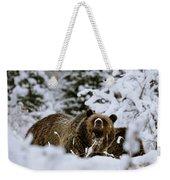 Bear In The Snow Weekender Tote Bag