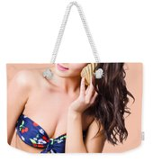 Beautiful Beach Babe Over Studio Background Weekender Tote Bag