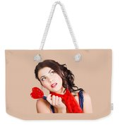 Beautiful Pinup Girl Holding Candy. Sweet Heart Weekender Tote Bag