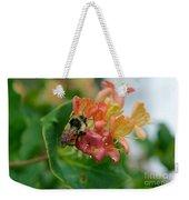 Bee On Wild Honeysuckle Weekender Tote Bag by Ann E Robson