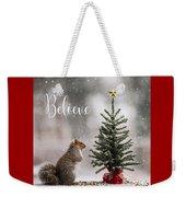 Believe Christmas Tree Squirrel Square Weekender Tote Bag
