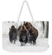 Bison Bulls Run In The Snow Weekender Tote Bag