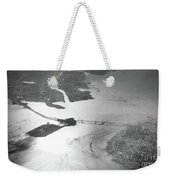 Black And White Aerial View Of Downtown San Francisco With Sun R Weekender Tote Bag
