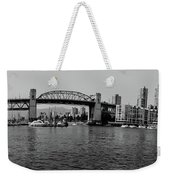 black and white panorama of Vancouver from plaza of nations showing the beautiful city Weekender Tote Bag