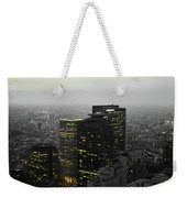 Black And White Tokyo Skyline At Night With Vibrant Selective Yellow Colors Weekender Tote Bag
