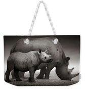 Black Rhinoceros Baby And Cow Weekender Tote Bag