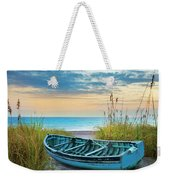 Blue Boat At Dawn Weekender Tote Bag