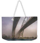 Blue Water Bridge Fog Weekender Tote Bag