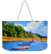 Boats At The Ferry Crossing Painting Weekender Tote Bag