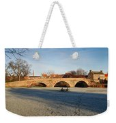 bridge over river Tyne in Haddington in winter Weekender Tote Bag