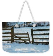 Broken Fence In The Snow At Sunset Weekender Tote Bag