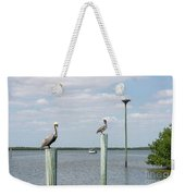 Brown Pelicans On Pilings And An Osprey Nest In The Tarpon Bay A Weekender Tote Bag