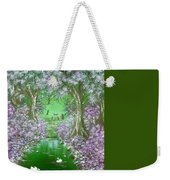 Bunnies Welcome At The Camp Fire In Green Weekender Tote Bag