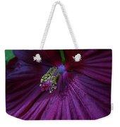 Burgundy Hibiscus Weekender Tote Bag