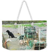 Burnmouth Harbour With Dog On Pier And Lobster Pots Weekender Tote Bag