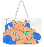 Cat Has Just Lost One Life Has Eight Lives Left Cartoon Weekender Tote Bag