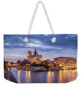 Cathedral Notre Dame And River Seine Weekender Tote Bag