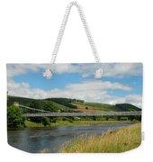 chainbridge over river Tweed at Melrose Weekender Tote Bag