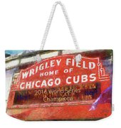 f1e883a80d Chicago Sports Wrigley Field Cubs World Series Marquee Photo Art Sq Format  Weekender Tote Bag
