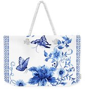 Chinoiserie Blue And White Pagoda With Stylized Flowers Butterflies And Chinese Chippendale Border Weekender Tote Bag