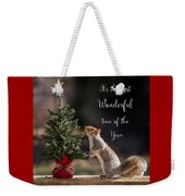 Christmas Squirrel Most Wonderful Time Of The Year Square Weekender Tote Bag