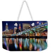 Cleveland Ohio Skyline Reflects Colorfully Weekender Tote Bag