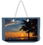 Cleveland Sign Sunrise Weekender Tote Bag