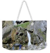 Climbers Making Their Way Up The Cliffs Of Gordale Scar Weekender Tote Bag