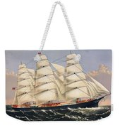 Clipper Ship Three Brothers, The Largest Sailing Ship In The World Published By Currier And Ives Weekender Tote Bag