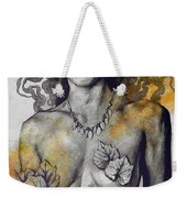 Colony Collapse Disorder - Gold - Nude Warrior Woman With Autumn Leaves Weekender Tote Bag
