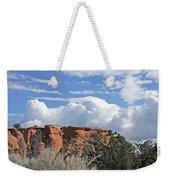 Colorado National Monument Colorado Blue Sky Red Rocks Clouds Trees Weekender Tote Bag
