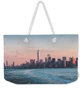 Colorful Sunrise Over The New York Skyline And The Statue Of Lib Weekender Tote Bag