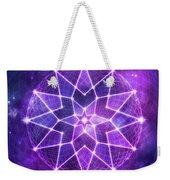Cosmic Purple Geometric Seed Of Life Crystal Lotus Star Mandala Weekender Tote Bag