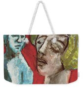 Couple In Front Of Red Wall Weekender Tote Bag