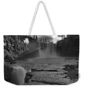 Crescent Falls Light Rays Through The Mist Black And White Weekender Tote Bag
