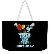 Cute 9th Ninth Birthday Elephant Weekender Tote Bag