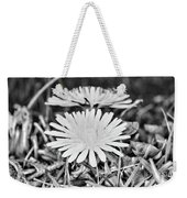 Dandelion Up Close And Personal Black And White Weekender Tote Bag