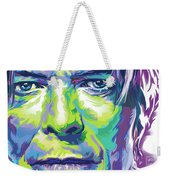 David Bowie Portrait In Aqua And Green Weekender Tote Bag