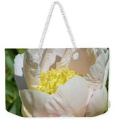Delicate Pastel Peach Cupped Peony Blossom Weekender Tote Bag