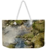 Digital Watercolor Painting Of Autumn Fall Forest Landscape Stre Weekender Tote Bag