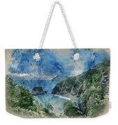 Digital Watercolor Painting Of Beautiful Dramatic Sunrise Landsa Weekender Tote Bag