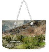 Digital Watercolor Painting Of Beautiful Old Village Landscape N Weekender Tote Bag