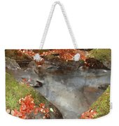 Digital Watercolor Painting Of Blurred Water Detail With Rocks N Weekender Tote Bag