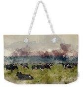 Digital Watercolor Painting Of Cattle In Field During Misty Sunr Weekender Tote Bag