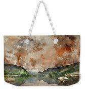 Digital Watercolor Painting Of Llyn Nantlle At Sunrise Looking T Weekender Tote Bag