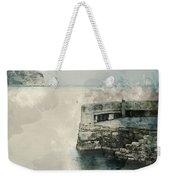 Digital Watercolor Painting Of Peaceful Landscape Of Stone Jetty Weekender Tote Bag