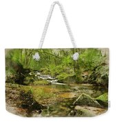 Digital Watercolor Painting Of Stunning Landscape Iamge Of River Weekender Tote Bag