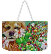 Dog With Flowers Weekender Tote Bag by Jacqueline Athmann